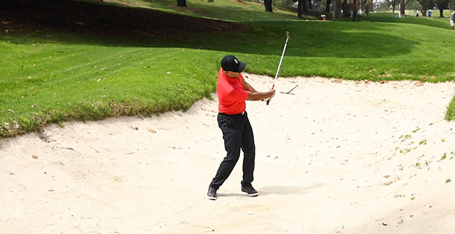 Sand on the club face bunker drill