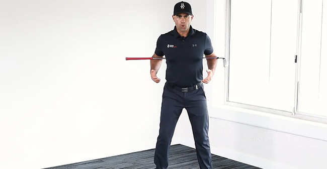 Club behind the back to feel correct rotation